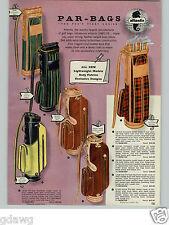 1958 PAPER AD Atlantic Par Golf Bag Bags Leather Plaid COLOR
