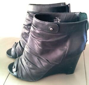 black leather wedge ankle boots 9.5-10 anthropologie free people