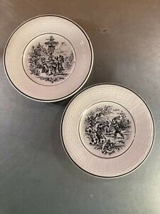 2 Vintage Digoin Les Mois Cream/Black Pottery Dessert Plates