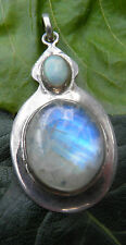 Opal and moonstone 925 silver pendant  (33)