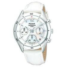 PULSAR DRESS CHRONOGRAPH DATE WHITE MOP DIAL LEATHER WOMEN'S WATCH PT3085