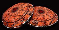 "Indian Decor Orange Floor Pillow Bohemian Ottoman Pouffe Seating 32"" Decor Pair"