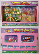 RARE VINTAGE 90'S TEDDY FAMILY MINI FIGURES DREAMY HOUSE PLAYSET CHINA NEW !