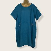 LINEN BALLOON DRESS TEAL Made In Italy Lagenlook Women UK Size 14 16 18 20