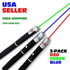 3-Pack Laser Pointer Pen Green Blue Purple Red Light Visible Beam Lazer 5mW Pro