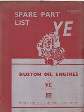 RUSTON YE YEL YEN YEM YEZ 4- 5- 6-CYL DIESEL ENGINE ORIG.FACTORY PARTS CATALOGUE