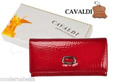 Portafoglio con strass 4u CAVALDI vera Pelle Carte,da Donna documenti Rosso