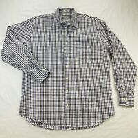 Peter Millar Mens Large Purple Blue Gingham Plaid Long Sleeve Button Up Shirt
