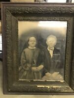 Antique Ornate Wooden Picture Frame Creepy Art Portrait Man And Woman