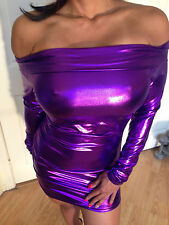Sexy Bodycon Clubwear Purple Metallic Long Sleeved OFF The Shoulder Dress S/M