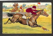 HORSE RACING ARTIST SIGNED ARTHUR THIELE SILK NOVELTY EMBOSSED POSTCARD 1910