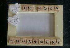 "Bespoke Personalised on your engagement Frame 6""x4"" scrabble art gift keepsake"