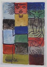 Ignasi VIDAL(1904-1988)Aquarel Mosaïque fantastique Barcelone Monaco Art Moderne
