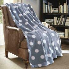 NIP Monarca Super Soft, Plush Gray and White Polka Dot Fleece Throw Blanket