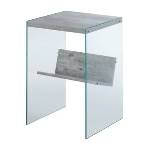 Convenience Concepts SoHo End Table, Faux Birch/Glass - 131556C1