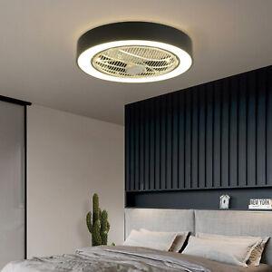 55cm LED Round Ceiling Fan Chandelier Fan Light Lamp Flush Mount 3 Color w/Remot