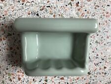 Vintage NOS 50s 60s Sage Moss Green Ceramic Bathroom Soap Dish Wall Fixture