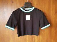 ZARA CROP TOP Black Stretch Cropped T-Shirt S / UK 8-10 - NEW