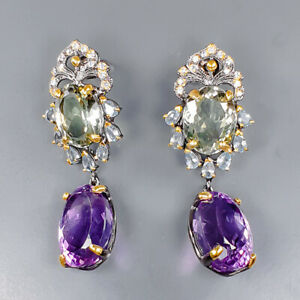 75 ct gems IF Quality Amethyst Earrings Silver 925 Sterling   /E52663