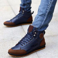 Men's Casual Leather High Top Sneaker Lace-up Work Shoes Ankle Boots Winter Warm