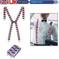 BRACES UNISEX 35MM MENS WOMENS ELASTIC X-BACK ADJUSTABLE SUSPENDERS CLIP ON
