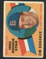 1960 Topps #124 Jim Donohue VG/VGEX RC Rookie Cardinals RS 44812