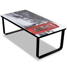 Black Glass Coffee Table Telephone Booth Printing Iron Frame Living Room Modern