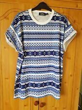 """Next Blue Mix Aztec Cotton T-shirt Size Large Chest 40""""-42"""""""