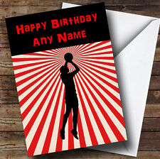 Red Stripy Basketball Personalised Birthday Greetings Card