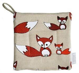 Linen Cotton Kitchen Square Potholder Pot Holder Gift Present Oven Mitt Foxes