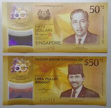 2017 BRUNEI-SINGAPORE CIA 50 Anniversary S$50 50AC198093 B$50 E/2-664711 UNC o