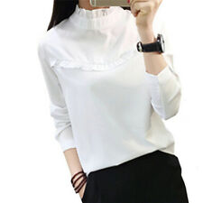Fashion Women Blouse Shirt Tops Casual Stand Long Sleeve Solid Blouses Shirts M&