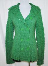 BoHo HIPPIE Coachella Green Hoodie Long Cardigan Sweater Wrap Jacket Coat M/L