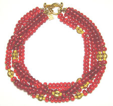 CHIC Vintage CHANEL Designer KARL LAGERFELD Red RESIN/LUCITE 4 Strand NECKLACE