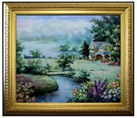 Framed, Quality Hand Painted Oil Painting Lakeside Cottage, 20x24in