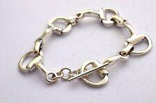 "Taxco Mexican 925 Sterling Silver Horse Bit Bracelet, 7.1"", 18 cm, 32 g"