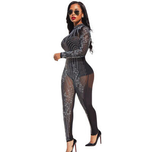 Womens Long Sleeve See Rhinestone Through Bodycon Jumpsuit Romper Clubwear
