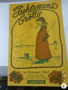1940's Fishermen's Grotto Menu Fisherman's Wharf San Francisco CA Geraldi & Sons