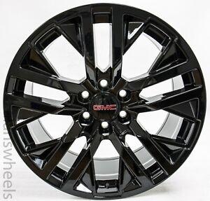 "4 GMC Yukon Sierra Denali Escalade Factory OEM Gloss Black 22"" Wheels Rims 5903"