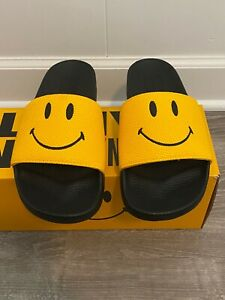New with Box Mens Chinatown Market Smiley Black/Yellow Slides! 9, 10,11, 12, 13!