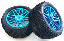 67057 1/10 Scale RC Buggy Rear Off Road 16 Spoke Wheels Tyre Blue Chrome Plastic