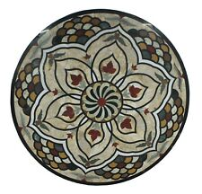 Table Top Unique Inlay Floral Marble Multi Stone Black Base Indian US6MTT