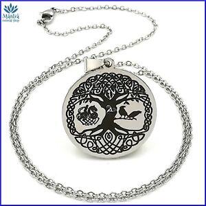 Amuleto ciondolo celtico albero della vita in acciaio con collana uomo donna da