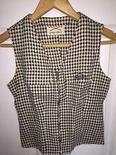 Vintage GIORGIO ARMANI GOLF Lady's Brown & Beige Herringbone Vest (Size 38)