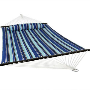 Catalina Beach Quilted Double Fabric Hammock w/ Spreader Bar and Pillow