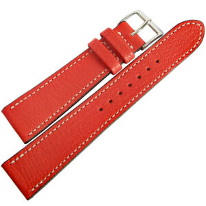 19mm Mens Fluco Montana Red Goatskin Leather German Made Watch Band Strap