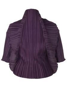CHESCA Plus Size NEW Women's Aubergine Crush Pleat Bolero Size S/M (12-16s) BNWT