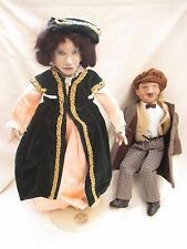 Pair of Unusual Artist Made Composition / Wooden Head Dolls Lady and Old Man