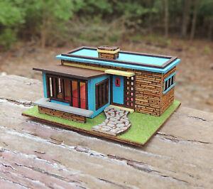 1:144 Scale MCM Dollhouse KIT- Mid Century Modern Ranch House- Retro Vintage