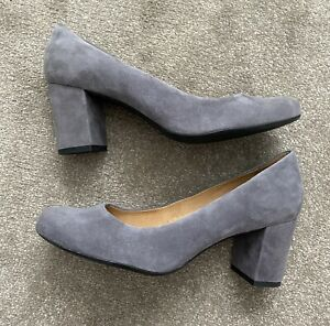 Grey Suede John Lewis Womens Shoes Block Heel NEW Size 6